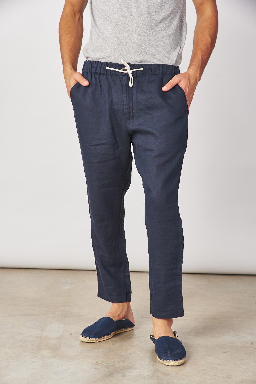 Bensimon Pantalon Chino Elastico Lino Pantalones De Hombre
