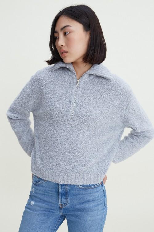 Nelly Zip Mockneck Sweater