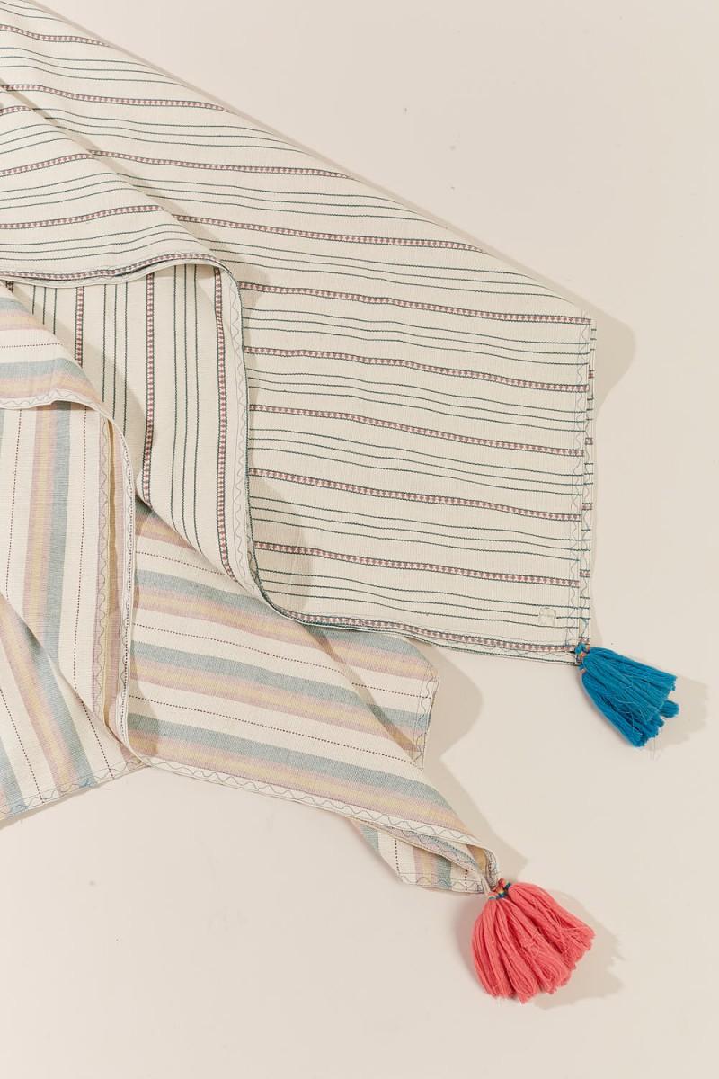 Mantel Stripes Tassels 140X220