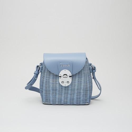 Mini Bag Bennet mimbre azul