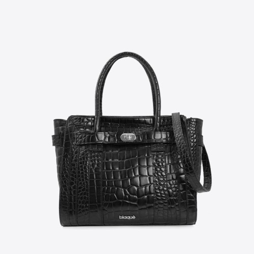 Cartera Aniston croco negro