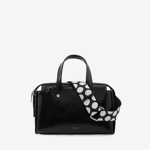 Mini Bag Annika charol arrugado negro