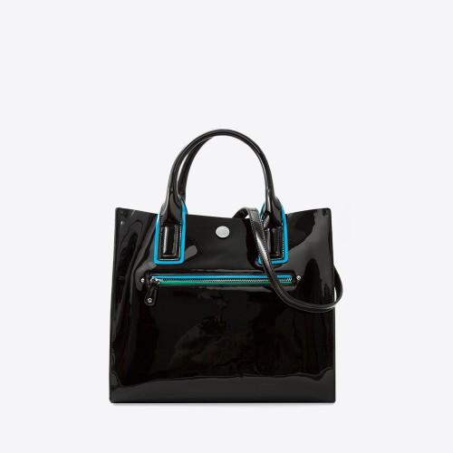 Mini Bag Selena charol negro/turquesa/verde