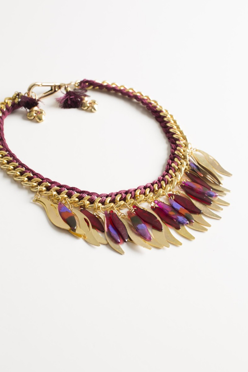 Collar Metallic Feather