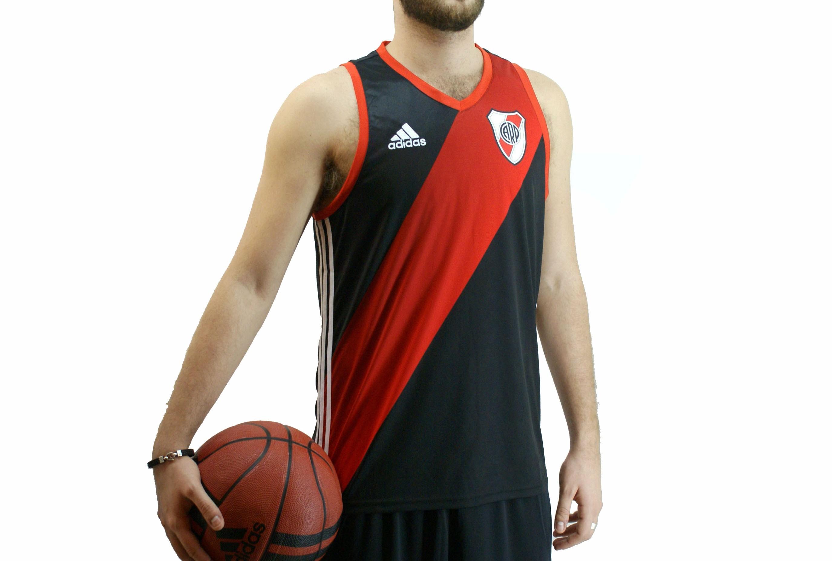 Musculosa Adidas River Basquet Negro Rojo Hombre Deporfan ... d0a367a3f3796