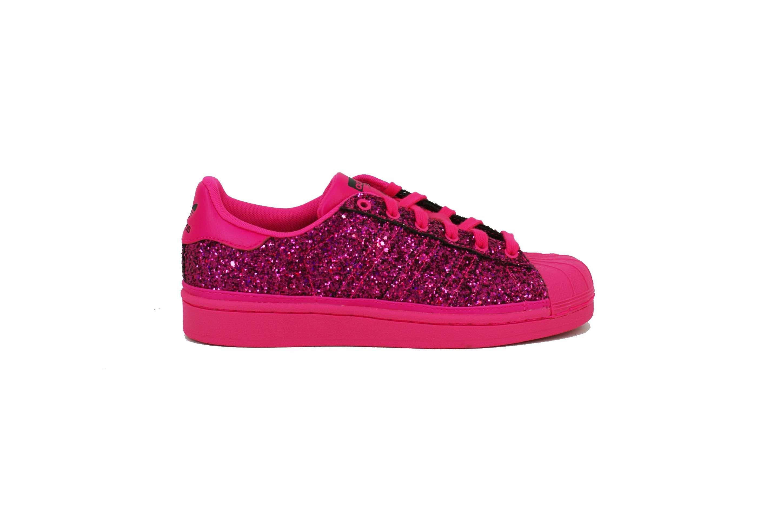 Zapatilla Adidas Originals Superstar Glitter Fucsia Dama
