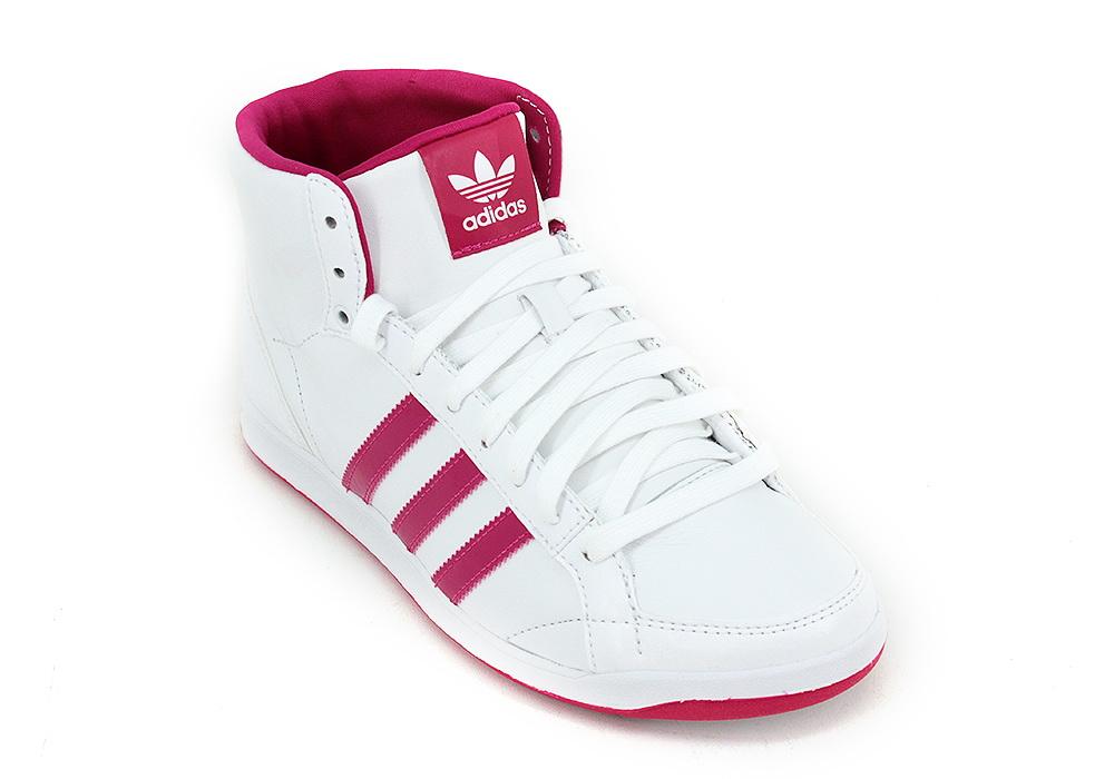 Botitas Adidas Originals Adi Hoop Mid Blanco Rosa Mujer