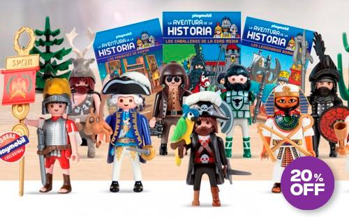 Una espectacular colección de exclusivos libros y figuras Playmobil para convertir el pasado en una divertida aventura. Figura Playmobil + libro tapa dura.